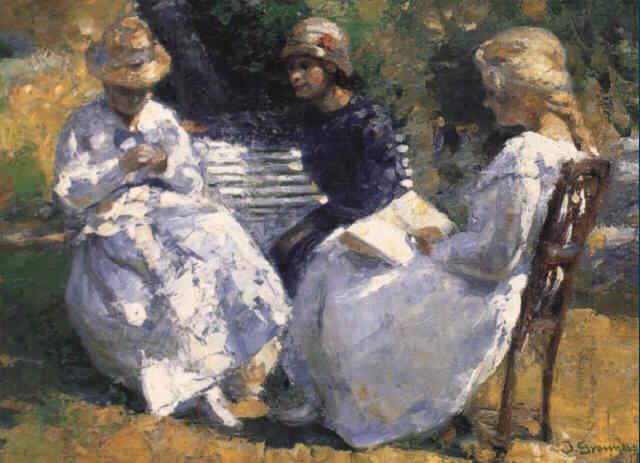 tre unge piger i haven