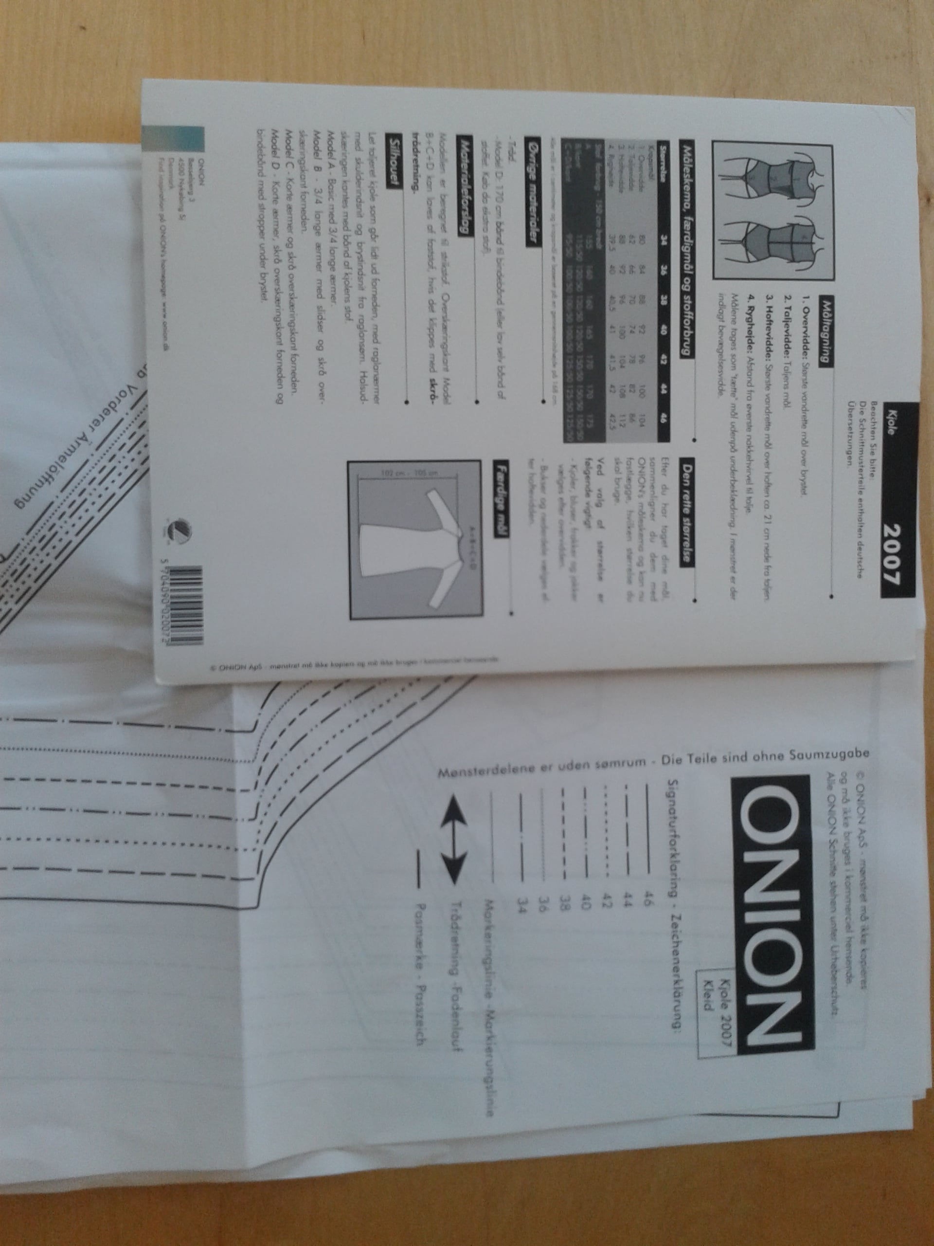 20130320 Onion mønster består av mønster i str. 34-46 og sømforklaring