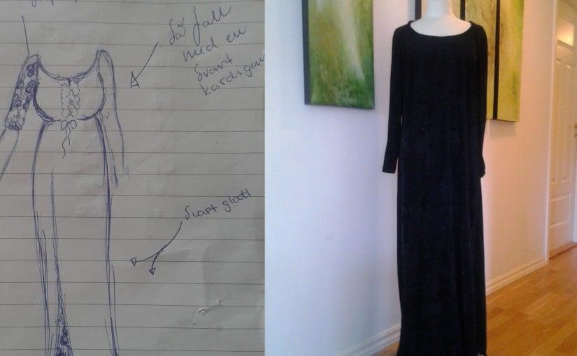 Skisse og ferdig kjole