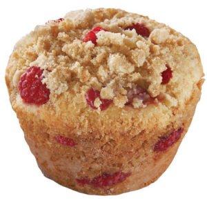 Bringebær strøssel muffins